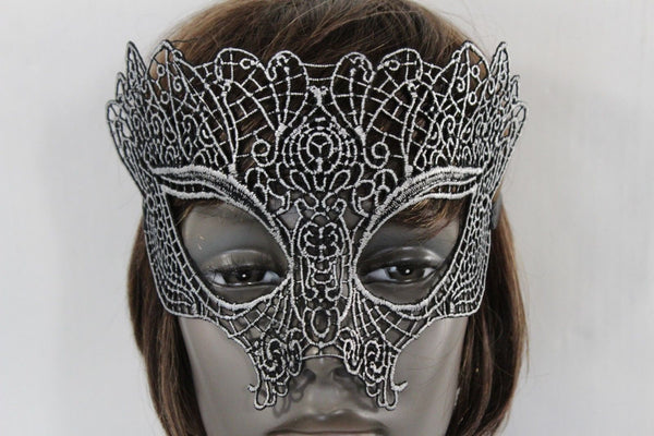 Black Fabric Half Face Eye Costume Mask Halloween Fun Party Women Men Accessories