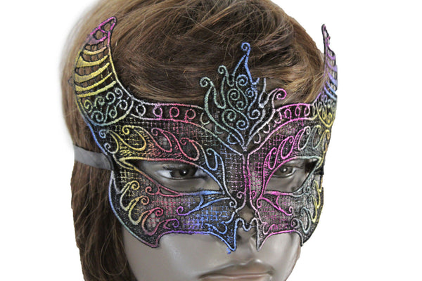 Colorful Fabric Bull Devil Horns Net Half Face Eye Costume Women Men Halloween Accessories