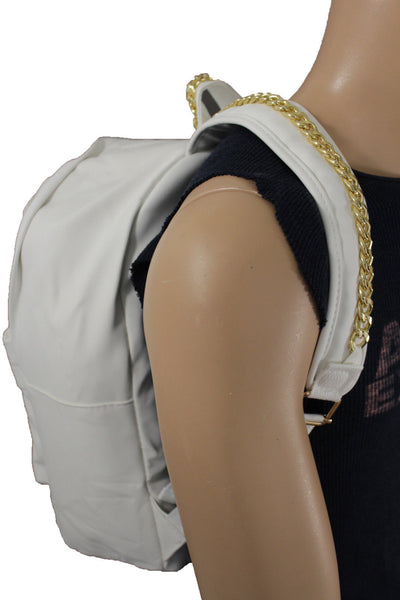 White Cream Faux Leather School Bag Back Pack Travel Gold Metal Chains Women Men