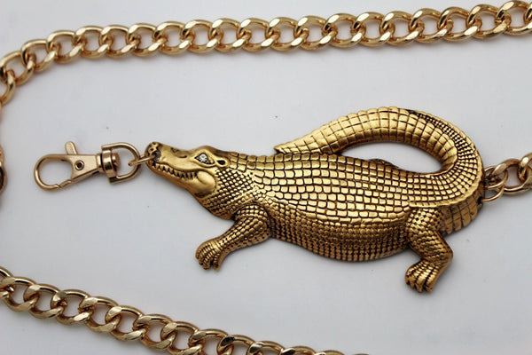 Gold Crocodile Alligator Metal Chains Hip High Waist Belt New Women Fashion Accessories XS M, M XL - alwaystyle4you - 11