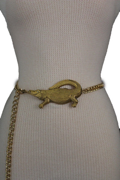 Gold Crocodile Alligator Metal Chains Hip High Waist Belt New Women Fashion Accessories XS M, M XL - alwaystyle4you - 3