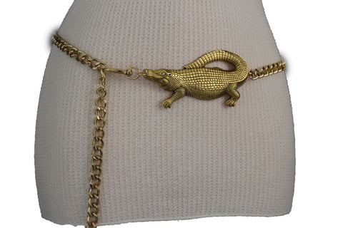 Gold Crocodile Alligator Metal Chains Hip High Waist Belt New Women Fashion Accessories XS M, M XL - alwaystyle4you - 1