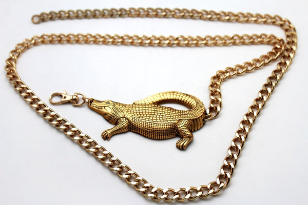 Gold Crocodile Alligator Metal Chains Hip High Waist Belt New Women Fashion Accessories XS M, M XL - alwaystyle4you - 7
