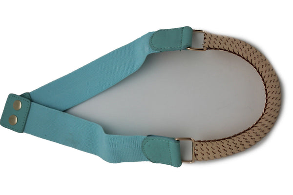 Pastel Pink Blue Elastic Fabric Hip High Waist Belt Gold Metal Mesh Buckle Women Accessories S M