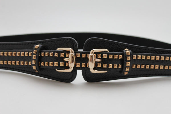 Black Faux Leather Western Style Belt Double Gold Pyramids Buckles Women Accessories S M