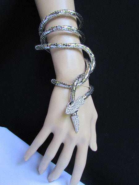 Silver Metal Extra Long Thin Necklace / Bracelet Snake Rhinestones New Women Fashion Style Jewelry Accessories