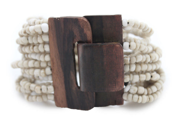 Gold Yellow / Pewter / Black White Gold / Off White / Blue / Green Bead Wrist Wide Bangle Bracelet Elastic Band Brown Wood Buckle New Women - alwaystyle4you - 44