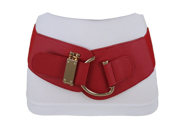New Women Wide Band Red Belt Hip High Waist Gold Metal Hook Buckle XXL