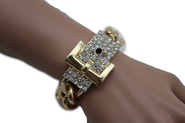 Gold Metal Shinny Chains Bracelet Rhinestones Buckle Beads New Women Fashion Jewelry Accessories - alwaystyle4you - 5