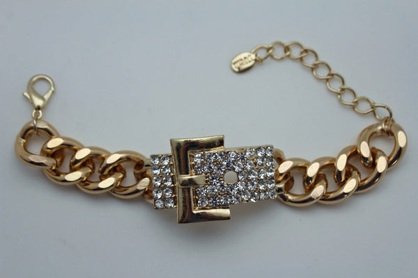 Gold Metal Shinny Chains Bracelet Rhinestones Buckle Beads New Women Fashion Jewelry Accessories - alwaystyle4you - 6