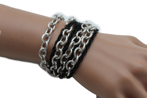 Silver Black Metal Chain Link Bracelet Thick Thin  8 Strand New Women Fashion Jewelry Accessories