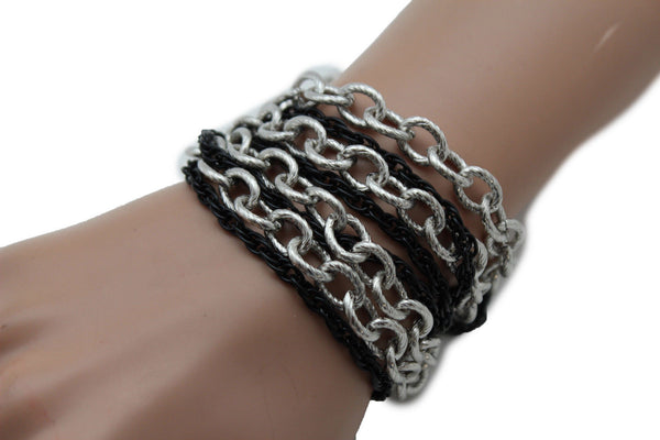 Silver Black Metal Chain Link Bracelet Thick Thin  8 Strand New Women Fashion Jewelry Accessories - alwaystyle4you - 3