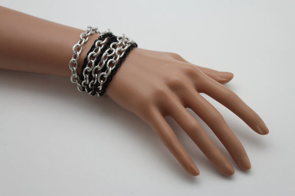 Silver Black Metal Chain Link Bracelet Thick Thin  8 Strand New Women Fashion Jewelry Accessories - alwaystyle4you - 4