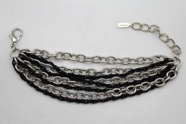 Silver Black Metal Chain Link Bracelet Thick Thin  8 Strand New Women Fashion Jewelry Accessories - alwaystyle4you - 5