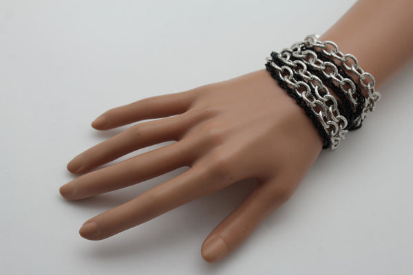 Silver Black Metal Chain Link Bracelet Thick Thin  8 Strand New Women Fashion Jewelry Accessories - alwaystyle4you - 6