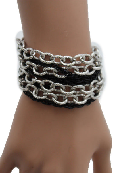 Silver Black Metal Chain Link Bracelet Thick Thin  8 Strand New Women Fashion Jewelry Accessories - alwaystyle4you - 7