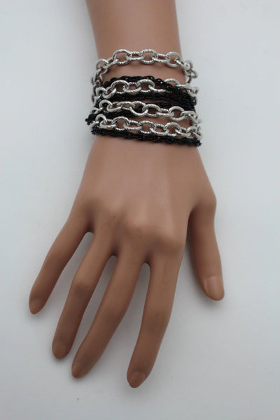 Silver Black Metal Chain Link Bracelet Thick Thin  8 Strand New Women Fashion Jewelry Accessories - alwaystyle4you - 9