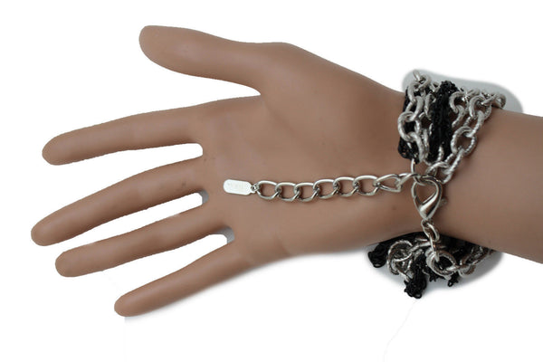 Silver Black Metal Chain Link Bracelet Thick Thin  8 Strand New Women Fashion Jewelry Accessories - alwaystyle4you - 10
