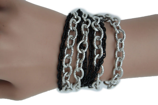 Silver Black Metal Chain Link Bracelet Thick Thin  8 Strand New Women Fashion Jewelry Accessories - alwaystyle4you - 11