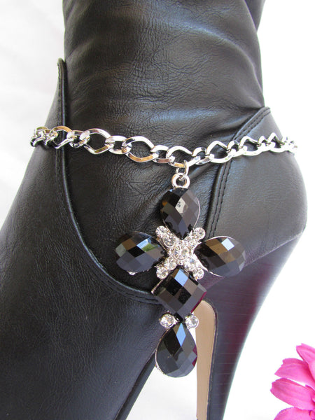 Silver Boot Metal Chain Strap Bling Big Cross Western Anklet Shoe Charm New Women Accessories