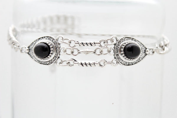 New Women Silver Boot Chains Bracelet Shoe Ethnic Black Beads Decoration Charm Accessories