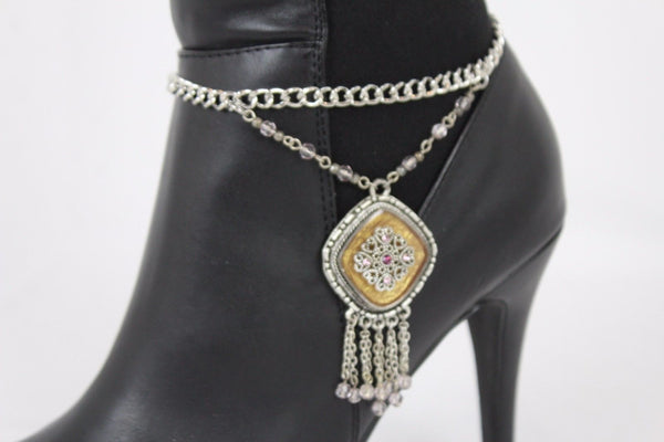 Hot Women New Silver Chain Boot Bracelet Anklet Shoe Charm Ethnic Beads Jewelry Fringes