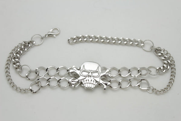 New Women Silver Chain Bracelet Boot Shoe Bling Anklet Skeleton Charm Skull Western Style