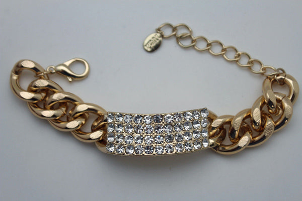 Gold Silver Metal Chains Bracelet Metal Plate Multi Clear Rhinestones New Women Fashion Jewelry Accessories