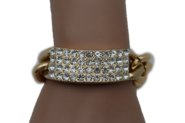 Gold Silver Metal Chains Bracelet Metal Plate Multi Clear Rhinestones New Women Fashion Jewelry Accessories - alwaystyle4you - 1