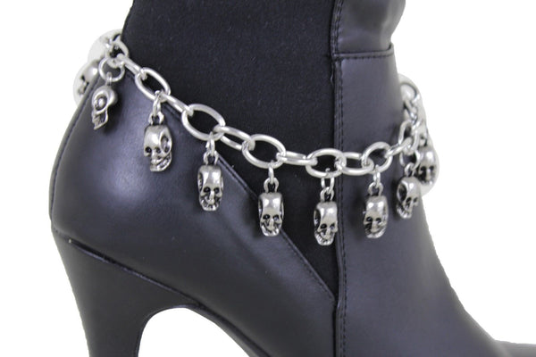 Silver Metal Boot Chain Bracelet Silver Metal Chain Skulls Shoe Charm Rocker New Women Accessories