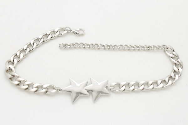 Silver Metal Chain Boot Bracelet Shoe Bling Stars Charms New Women Fashion Accessories