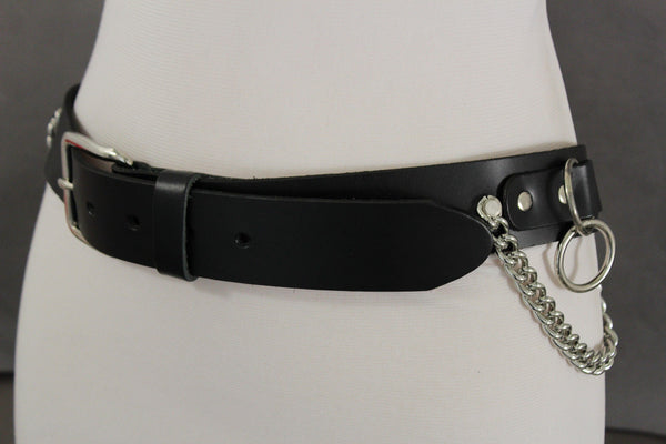 Black Genuine Leather Punk Rock Belt Long Silver Metal Chains And Rings Unisex Accessories