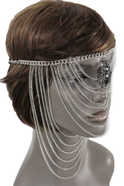 Silver Metal Head Multi Chains Elastic Face Mask Silver Web Black Spider Halloween Accessories