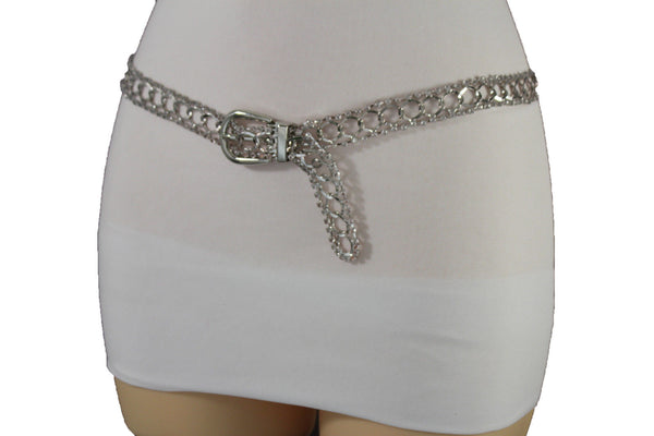 Silver Metal Chain Narrow Hip High Waist Dressy Flirty Belt New Women Fahsion Accessories S M