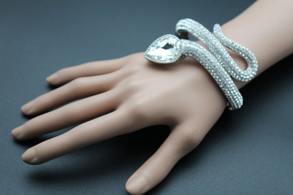 Silver Metal Cuff Bracelet Wrap Around Snake Larg Rhinestones Head New Women Fashion Jewelry Accessories - alwaystyle4you - 3