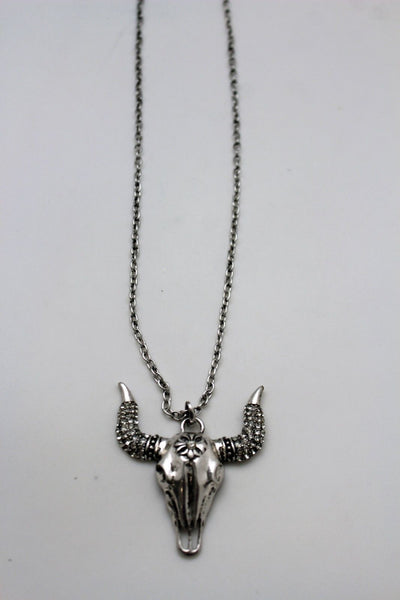 Silver Metal Chain Big Bull Skull Turquoise Blue Bead Skeleton Texas Western Necklace Women Accessories