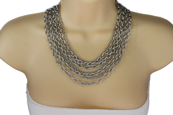 Silver Metal Multi Chain Links 8 Strands Necklace  + Earrings Set New Women Fashion Jewelry - alwaystyle4you - 4