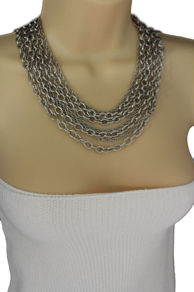 Silver Metal Multi Chain Links 8 Strands Necklace  + Earrings Set New Women Fashion Jewelry - alwaystyle4you - 7