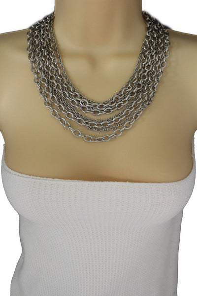 Silver Metal Multi Chain Links 8 Strands Necklace  + Earrings Set New Women Fashion Jewelry - alwaystyle4you - 9