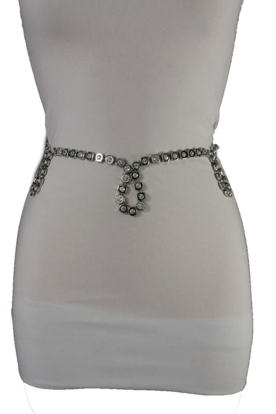 Silver Metal Hip High Waist Oval Water Drops Chain Belt New Women Fashion Accessories Size S M L