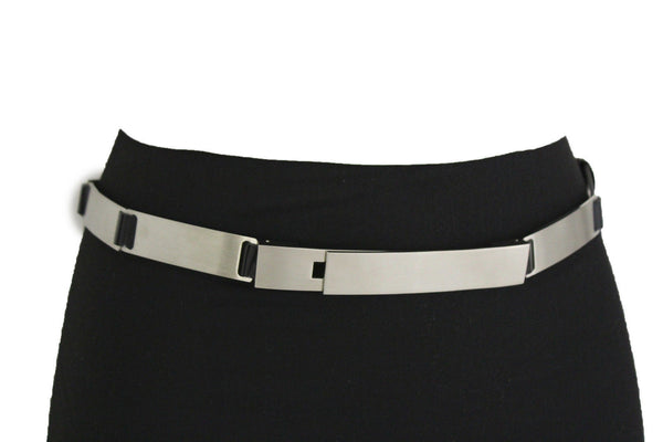 Silver Metal Multi Plates Hip Waist Narrow Skinny Belt Long Buckle New Women Fashion Accessories S M