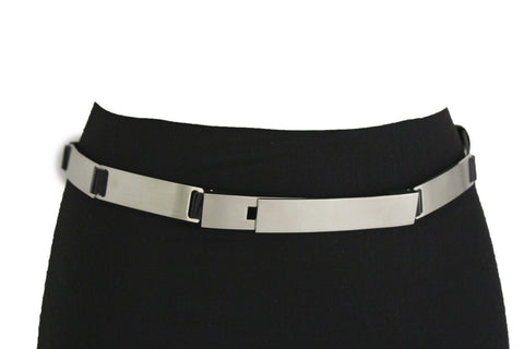 Silver Metal Multi Plates Hip Waist Narrow Skinny Belt Long Buckle New Women Fashion Accessories S M - alwaystyle4you - 1