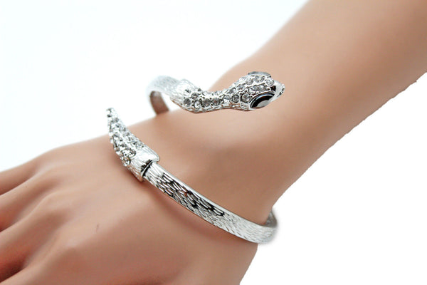 Gold / Silver Metal Narrow Cuff Bracelet Wrap Around Snake Bangle New Women Fashion Jewelry Accessories - alwaystyle4you - 13
