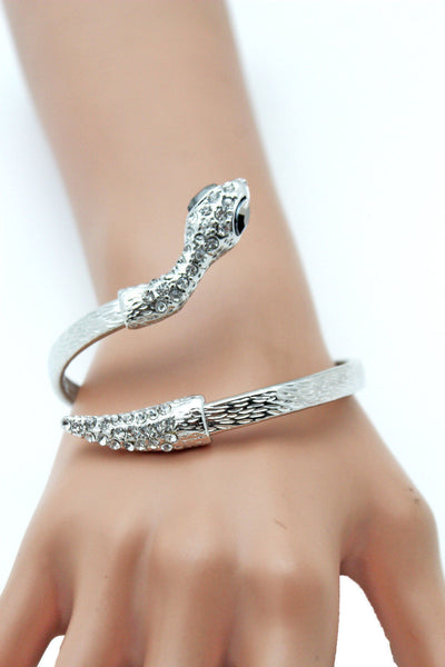 Gold / Silver Metal Narrow Cuff Bracelet Wrap Around Snake Bangle New Women Fashion Jewelry Accessories - alwaystyle4you - 4
