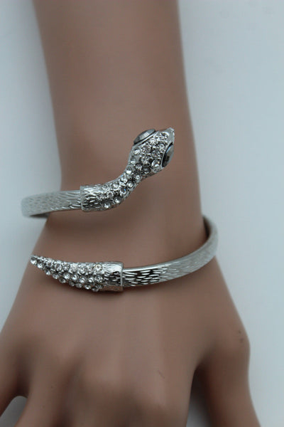 Gold / Silver Metal Narrow Cuff Bracelet Wrap Around Snake Bangle New Women Fashion Jewelry Accessories - alwaystyle4you - 5