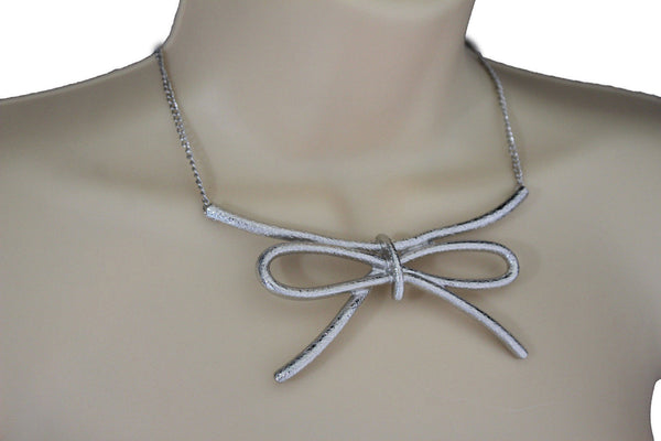 Copper / Silver Metal Chain Knot Bow Tie Charm Pendant Necklace + Earrings Set New Women Fashion Jewelry - alwaystyle4you - 21
