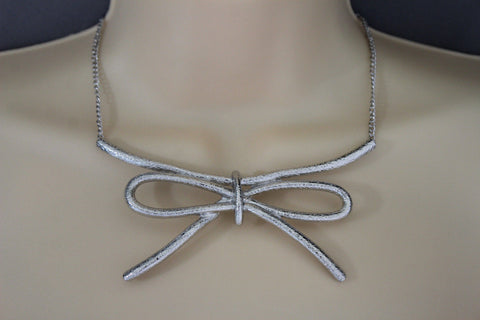 Copper / Silver Metal Chain Knot Bow Tie Charm Pendant Necklace + Earrings Set New Women Fashion Jewelry - alwaystyle4you - 1