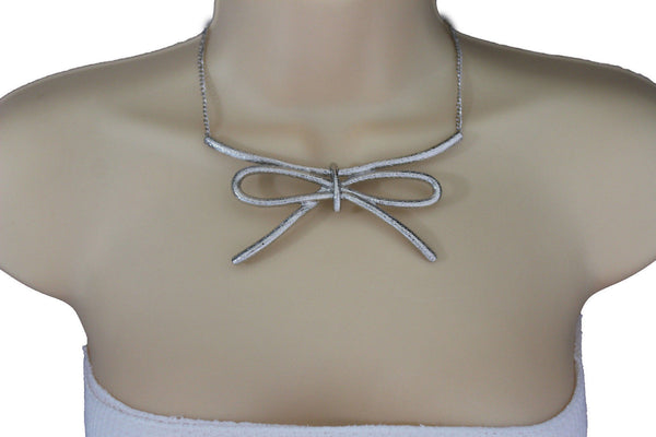 Copper / Silver Metal Chain Knot Bow Tie Charm Pendant Necklace + Earrings Set New Women Fashion Jewelry - alwaystyle4you - 14