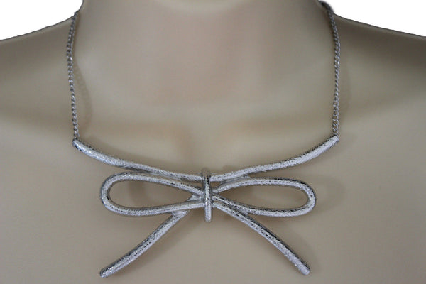 Copper / Silver Metal Chain Knot Bow Tie Charm Pendant Necklace + Earrings Set New Women Fashion Jewelry - alwaystyle4you - 15