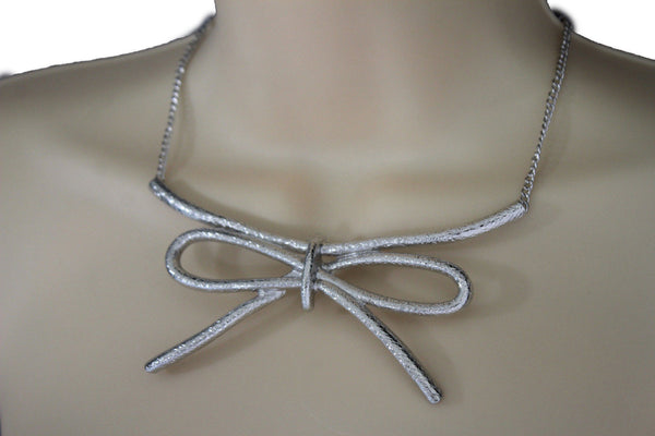 Copper / Silver Metal Chain Knot Bow Tie Charm Pendant Necklace + Earrings Set New Women Fashion Jewelry - alwaystyle4you - 17